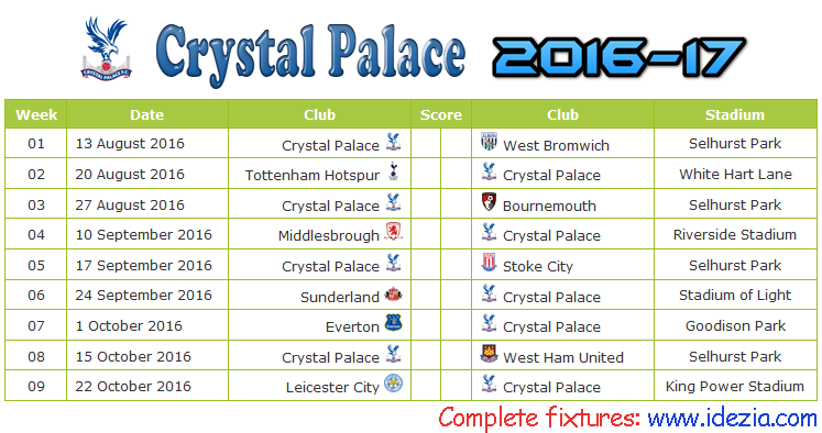 Download Jadwal Crystal Palace FC 2016-2017 File PDF - Download Kalender Lengkap Pertandingan Crystal Palace FC 2016-2017 File PDF - Download Crystal Palace FC Schedule Full Fixture File PDF - Schedule with Score Coloumn