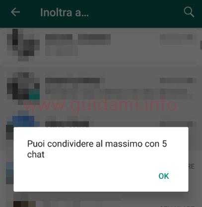 WhatsApp notifica puoi condividere al massimo con 5 chat