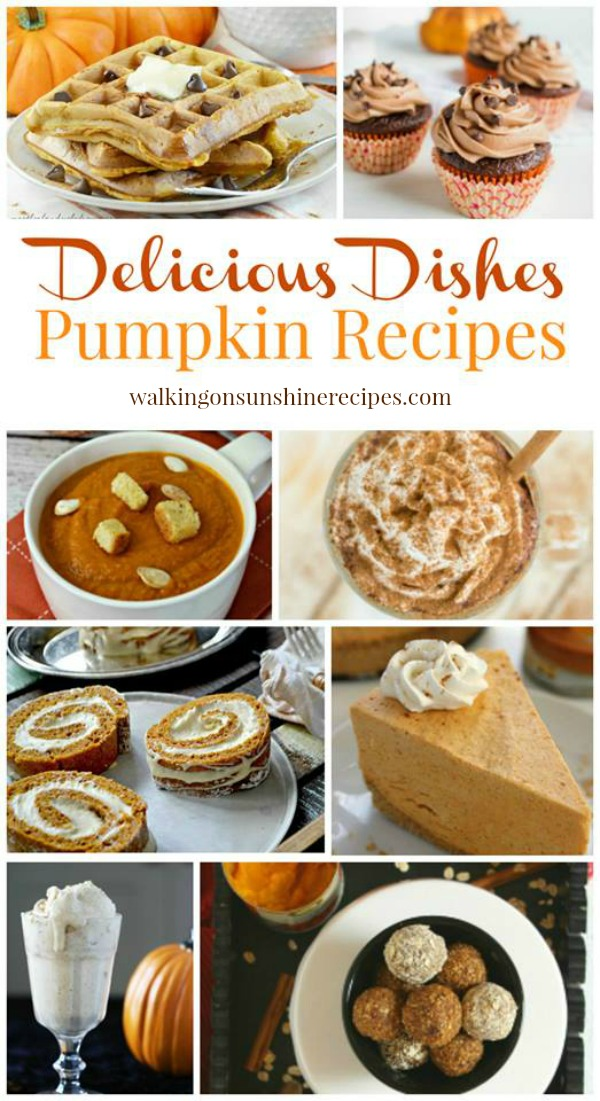 A great collection of pumpkin recipes are featured this week from Walking on Sunshine Recipes.