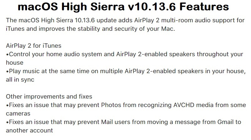 macOS High Sierra 10.13.5 Features Changelog