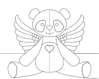 Angel panda coloring page available in jpg and transparent png format.