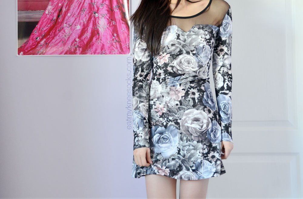 fashion review romwe  laceup rose print dress  eat my
