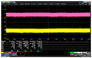 The oscilloscope's noise-floor measurement (yellow) and the shielded battery measurement (magenta) are virtually identical