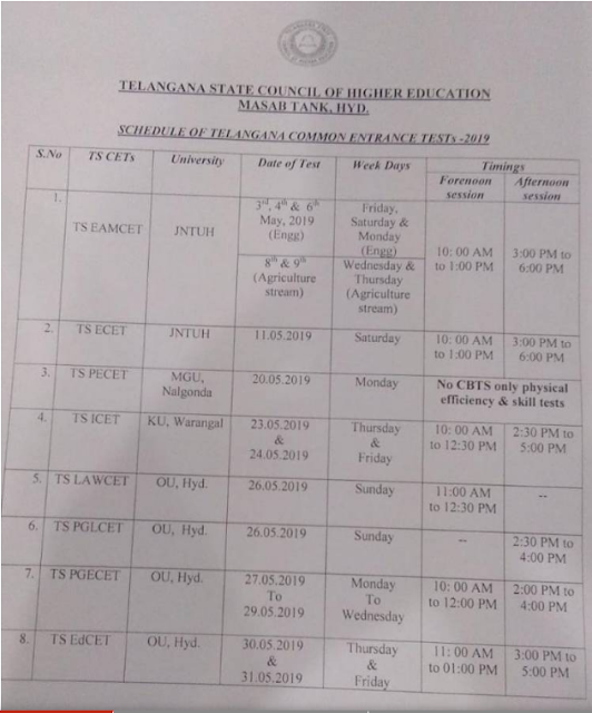 Telangana Common Entrance Tests Schedule-Exam Time Table