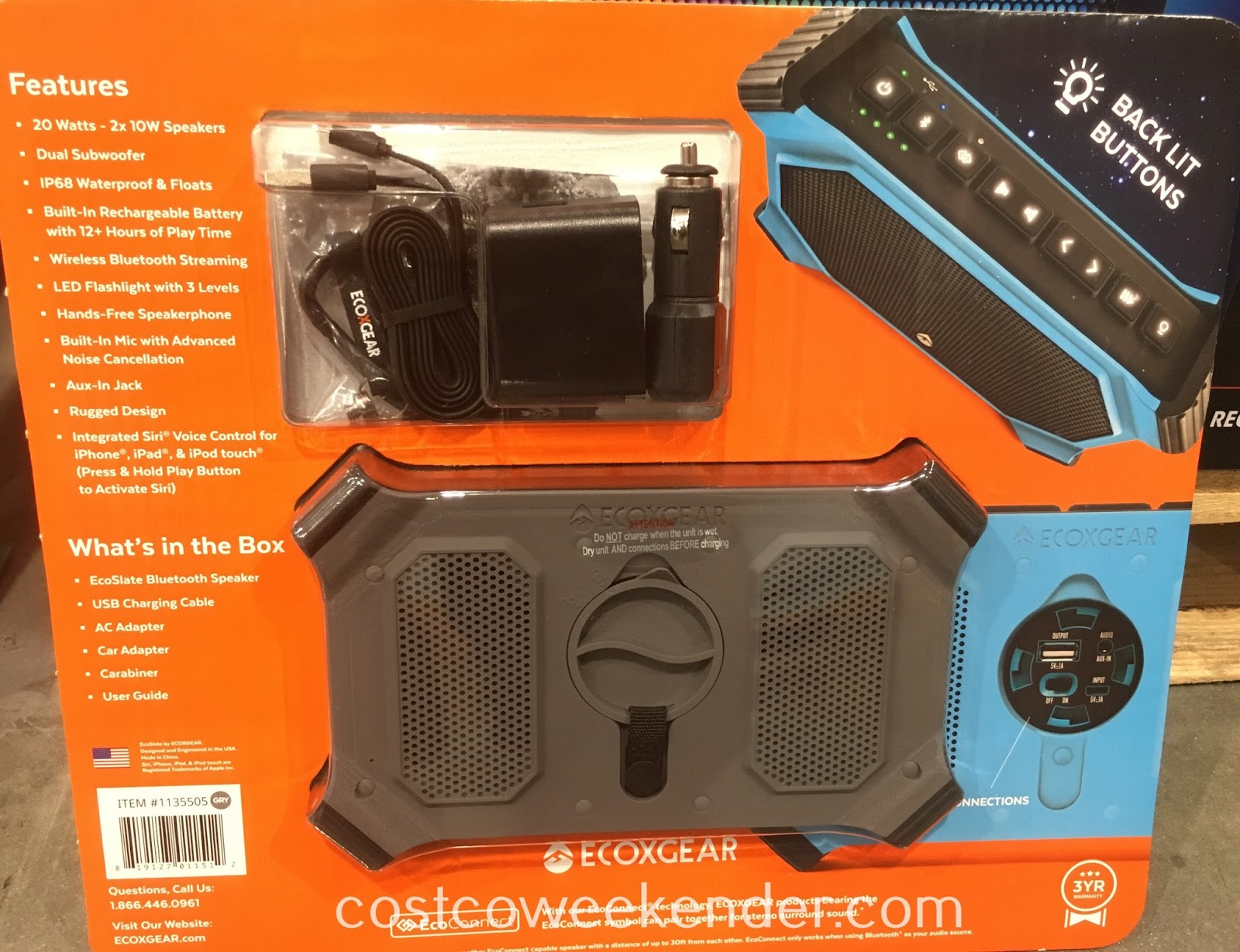 Costco 1135505 - ECOXGEAR EcoSlate Bluetooth Speaker: great for your active lifestyle