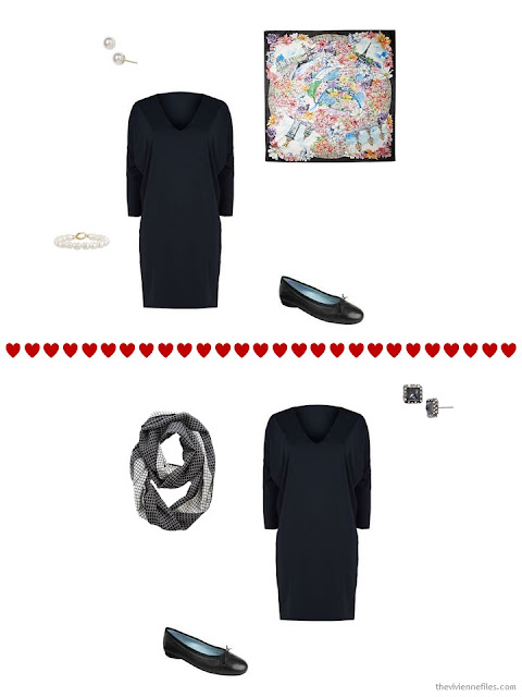 two ways to wear a simple black dress from a travel capsule wardrobe