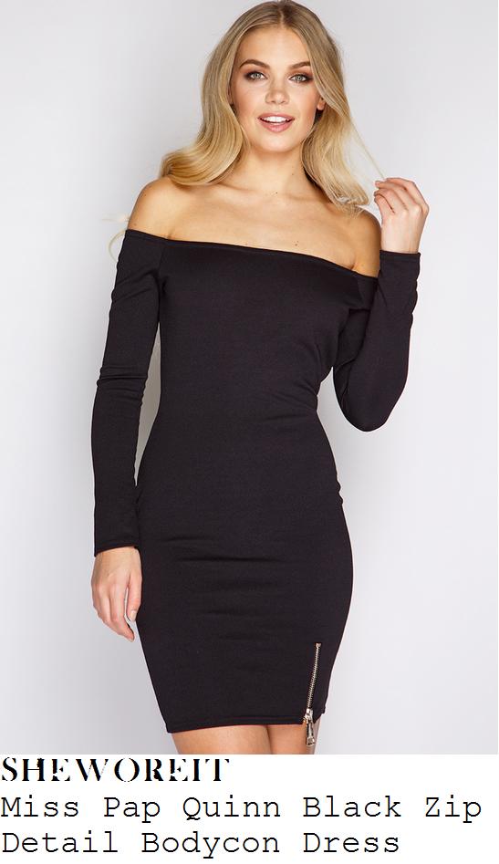 megan-mckenna-miss-pap-quinn-black-off-shoulder-bardot-zip-detail-bodycon-dress