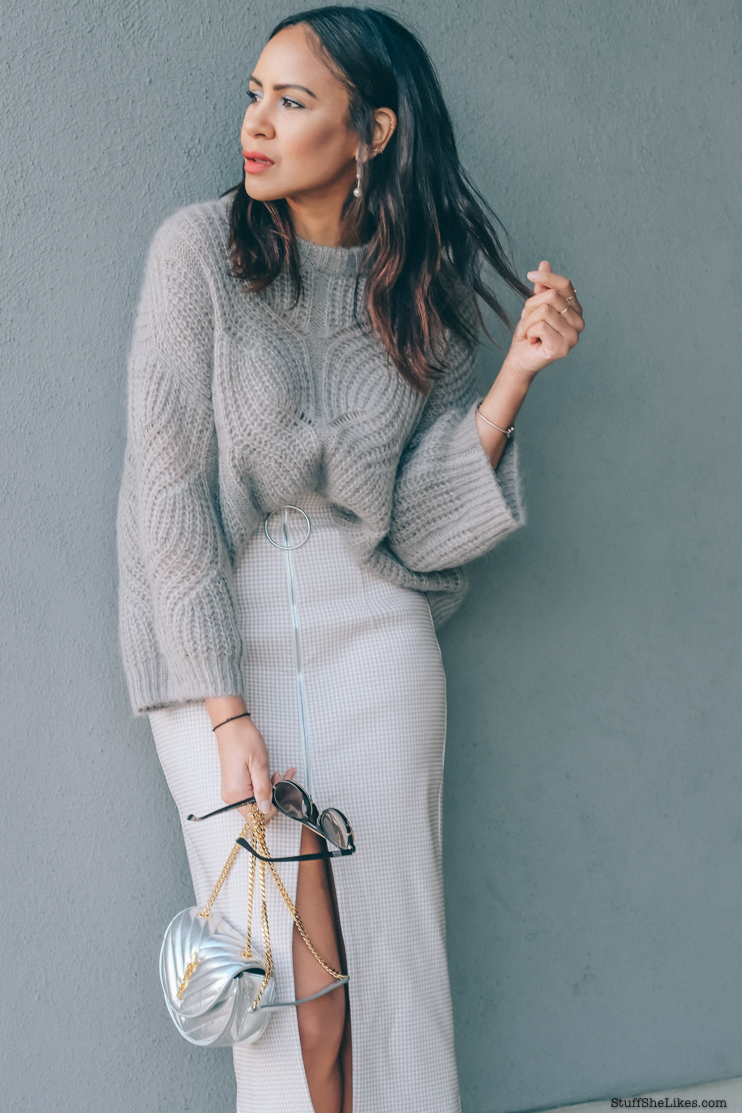 monochromatic outfits, marc fisher mules, mules, heels, tight skirts, midi skirts, spring sweaters, ysl bag, silver ysl bag, fashion blogger, top fashion blogger, best LA fashion bloggers, top LA fashion bloggers,