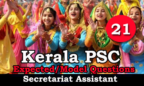 Kerala PSC Secretariat Assistant Expected Questions - 21