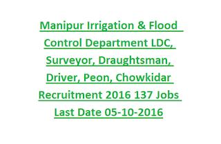 Manipur Irrigation & Flood Control Department LDC, Surveyor, Draughtsman, Driver, Peon, Chowkidar Recruitment 2016 Govt Jobs Last Date 05-10-2016