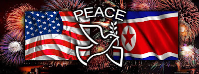 compound image of fireworks in the background with the USA and North Korea flags in the middle ground and a peace dove and the word piece in the foreground