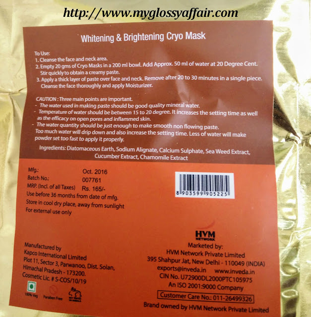 Inveda Whitening and Brightening Cryo Mask Review