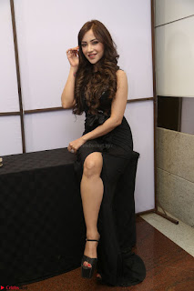 Angela Krislinzki in Transparent Black Gown at Rogue Movie Teaser Launch 1st March 2017 074.JPG
