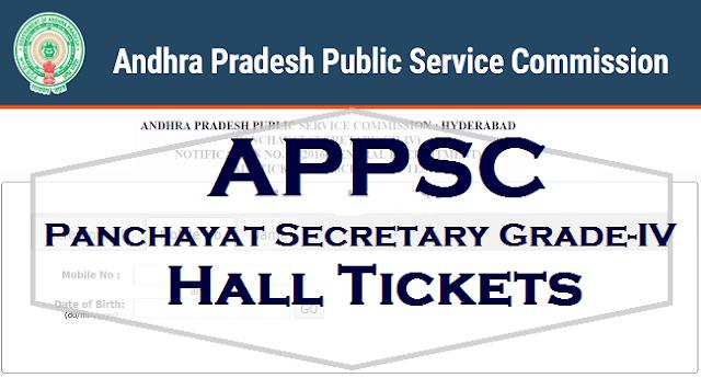 APPSC Group 3 hall tickets, Panchayat Secretaries Hall tickets,appsc hall tickets
