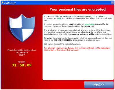Cryptolocker Malware Window