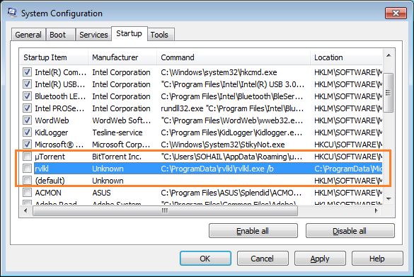 System Configuration utility-to remove pop-ups generating adware