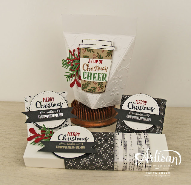 Christmas Pines dies, Merry Music DSP with Merry Cafe stamp set from Stampin' Up! That is one merry mix! These cute little matchbox style boxes, self-closing boxes, and little chocolate packets are perfect stocking stuffers and gifts for co-workers! ~Tanya Boser for the Artisan Design Team