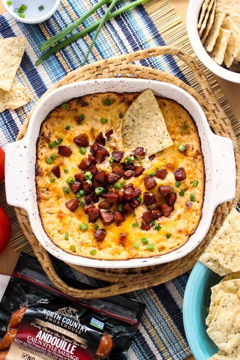 Cheesy Baked Andouille Dip
