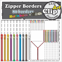 Zipper Borders in Rainbow Colors