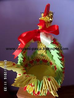 Kurko-koszyk - origami modułowe.