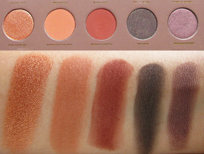 Swatches 2 Zoeva Cocoa Blend Palette - Pure Ganache - Substitute for Love - Freshly Toasted - Infusion - Delicate Acidity