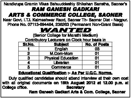 Lecturers Ram Ganesh Gadkari Arts Commerce Collage Saoner