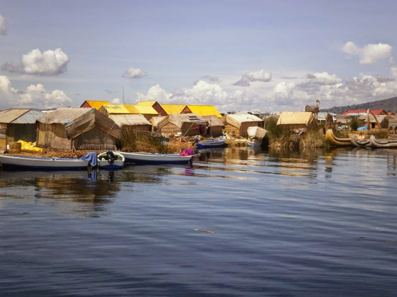 Reed Islands of Uros floating 3km from Puno, Lake Titicaca, Peru