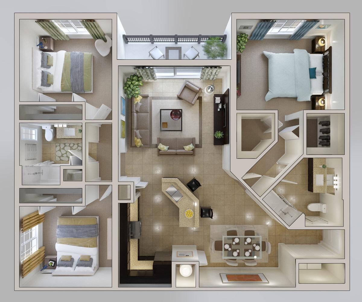 Denah Rumah 3 Kamar Tidur Model Terbaru 1001 Desain Rumah