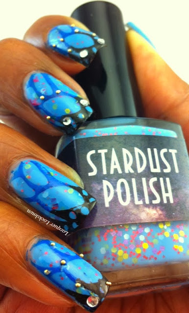 Lacquer Lockdown - Stardust Polish Supernova, indie polish, bundle monster create your own, bundle monster, konad, nail art, butterfly nail art, butterflies, stamping, cute nail art, easy nail art, pretty nail art, winter nail art, holiday nail art, matte glitter, glitter nail polish