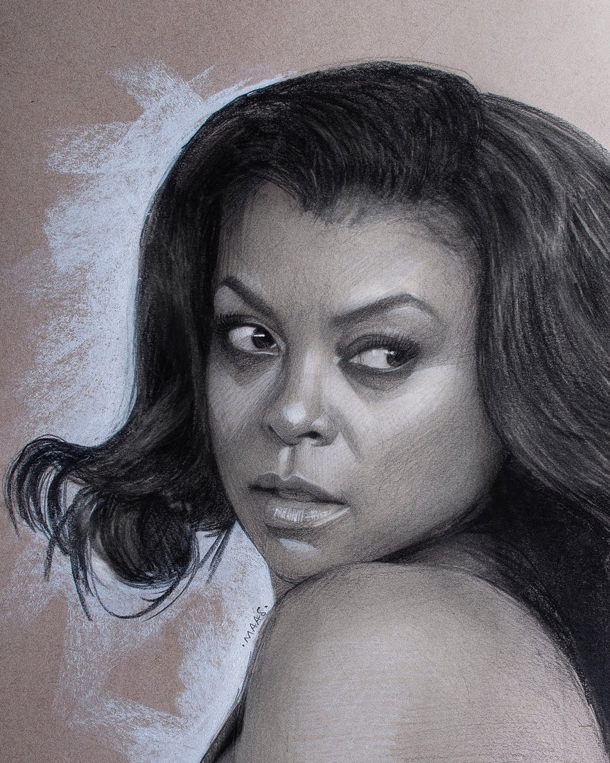 14-Taraji-P-Henson-Justin-Maas-Pastel-Charcoal-and-Graphite-Celebrity-Portraits-www-designstack-co