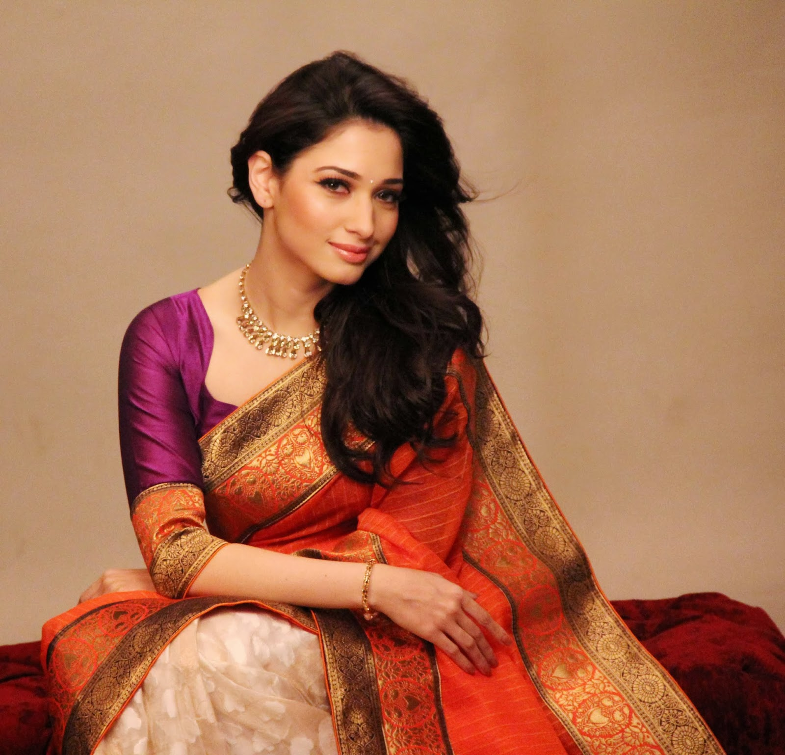 Tamanna In Silk Saree Photos