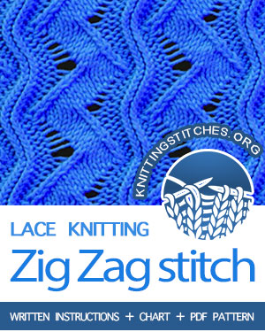 Zig Zag Stitch Pattern is found in the Eyelet and Lace Stitches category. FREE written instructions, Chart, PDF knitting pattern. #knittingstitches #knitting #laceknitting