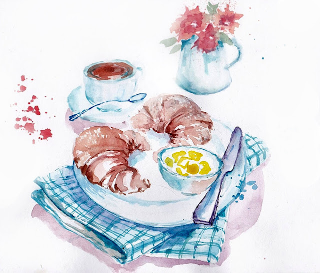 Breakfast Watercolor