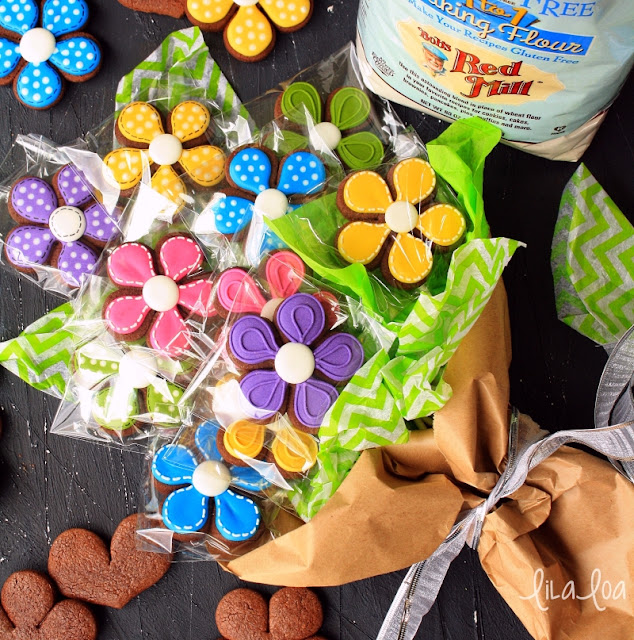 Wrapped sugar cookie flower bouquet and gluten free flour