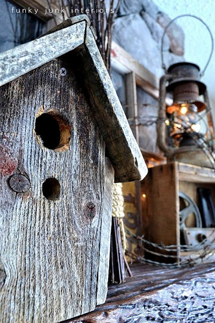 barnwood birdhouse / How to decorate a junk style mantel via https://www.funkyjunkinteriors.net