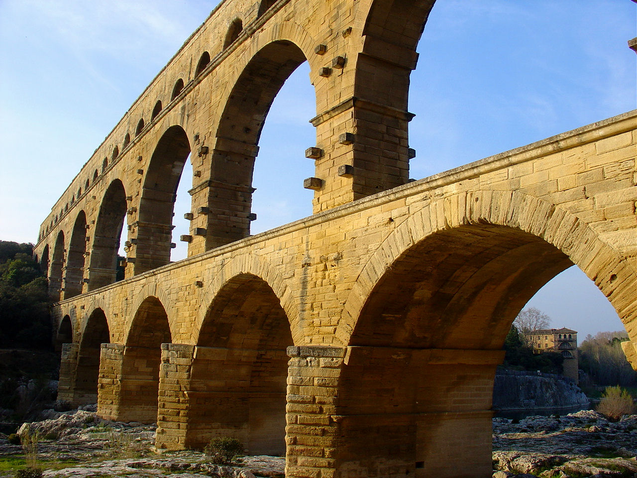 Le Pont du Gard at sunset.