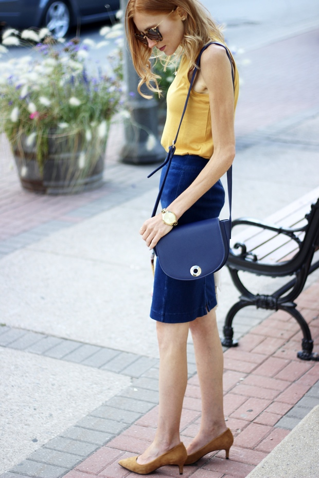 Fall Style- 70's Jersey Mock Neck Top, Stretch Denim Pencil Skirt, Navy Crossbody Satchel, Suede Cognac Pointy Toe Pump  Le Chateau, Miu Miu Sunglasses, Target Tribal Stripe Boyfriend Cardigan