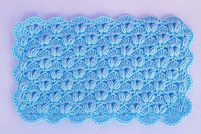 3 - Crochet IMAGEN Punto de abanico combinado con punto puff