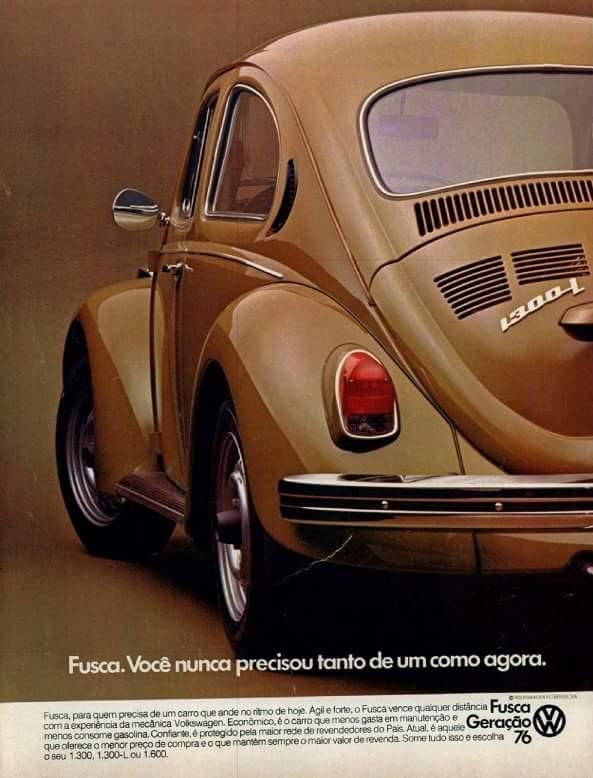 Propaganda antiga do Fusca, com apresentação da Geração 76.