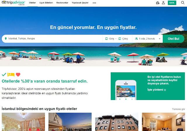 otel arama siteleri - tripadvisor - seyahat önerileri