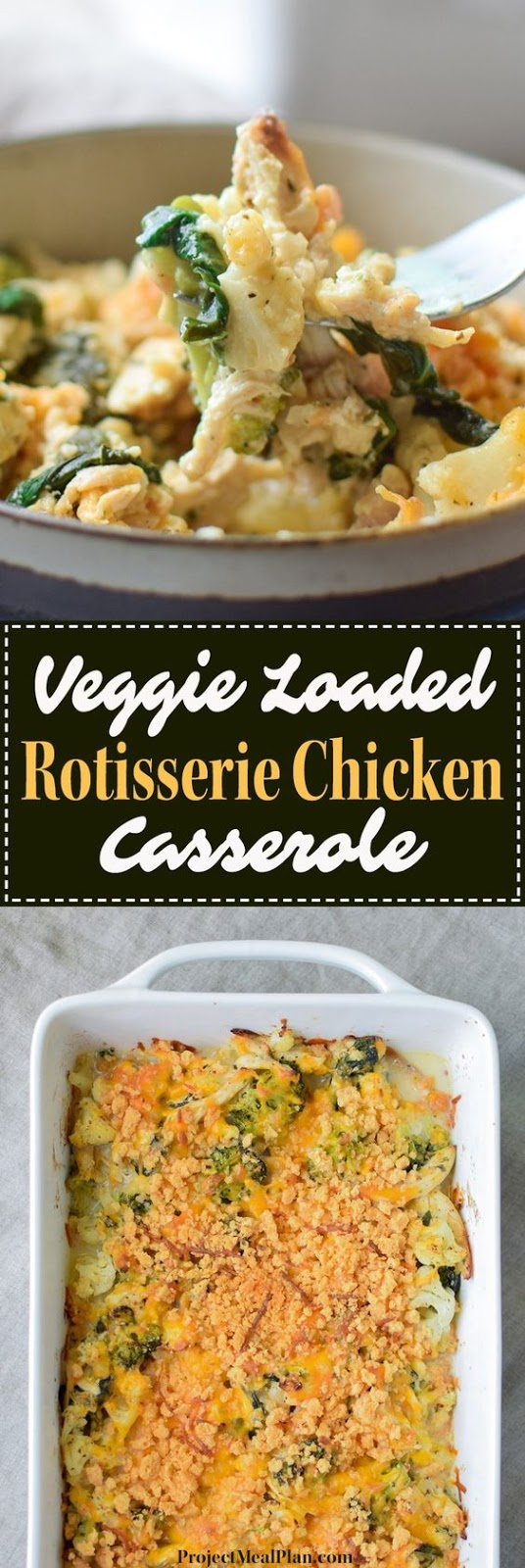 The Veggie Loaded Rotisserie Chicken Casserole is exactly what your dinner menu rotation needs! Family friendly, low-carb, and seriously packed with vegetables. It's super easy to modify and makes the best leftovers!