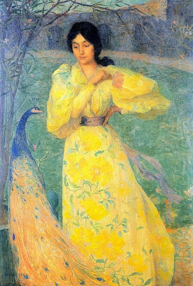 Menina com Pavão - Edmond Aman-Jean e suas principais pinturas  ~ Art Nouveau