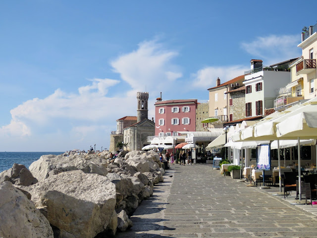 Walk along the Adriatic Sea in Piran Slovenia
