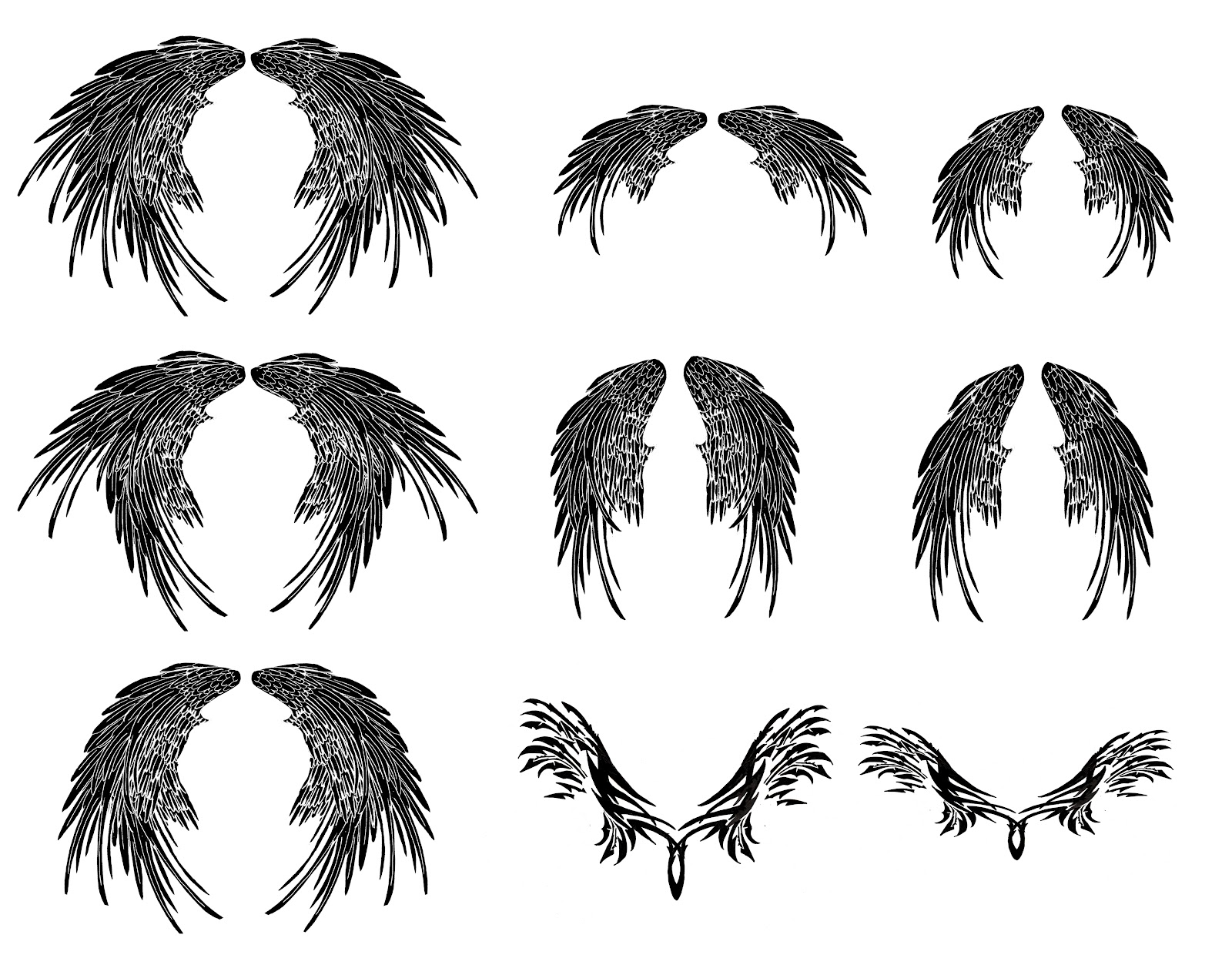 Magakhmer Tribal Angel Wings Tattoos