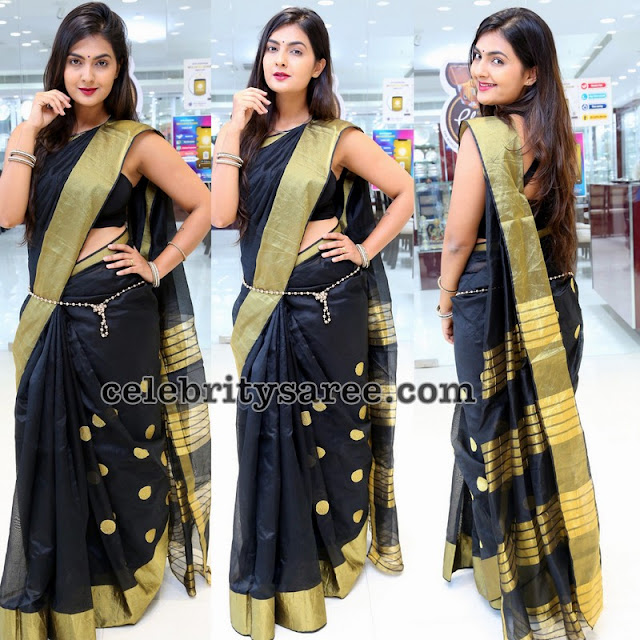 Nehadeshpande Black Silk Saree