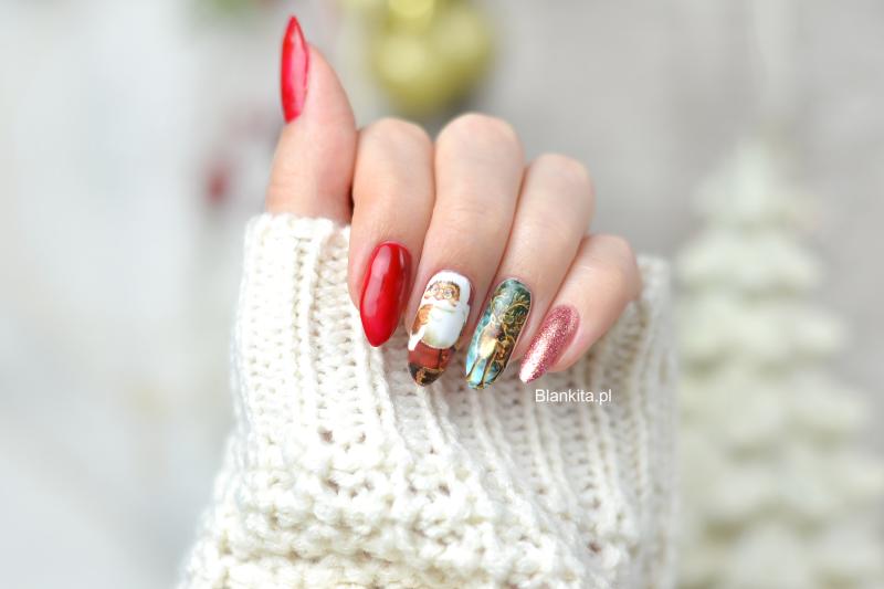 renifer na paznokciach, naklejka z reniferem, naklejka z mikolajem, born pretty, paznokcie, paznokcie zimowe,