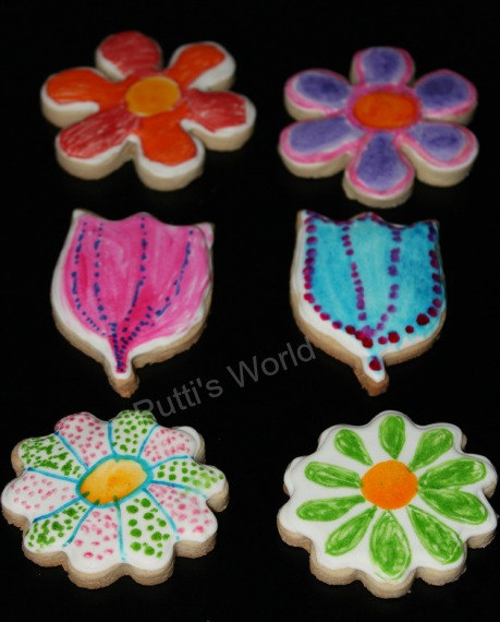 Kid Painted Cookies For Mother's Day Flower Spring