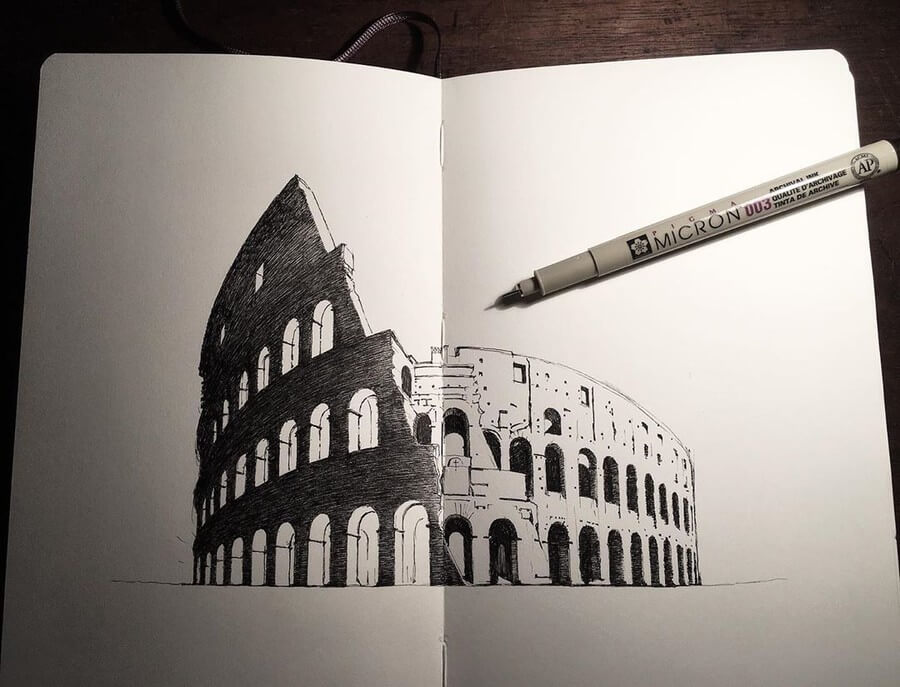 05-Colosseum-Mark-Poulier-Eclectic-Mixture-of-Architectural-Drawings-www-designstack-co