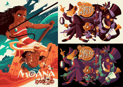 Moana & The Great Mouse Detective Disney Screen Prints by Tom Whalen x Cyclops Print Works