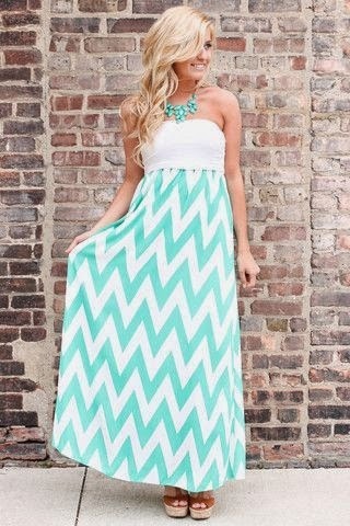 Chevron mint and white long dress